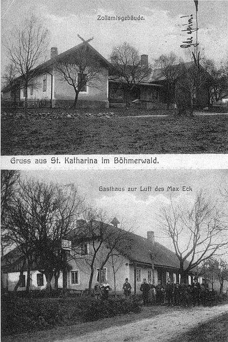 """Pohlednice ze Svaté Kateřiny s hospodou """"Zur Luft"""" na dolním z obou snímků"""