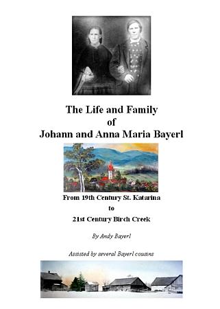 Titulní list rodinné kroniky Bayerlových až do dnešních dnů (viz celý text kroniky v pdf)