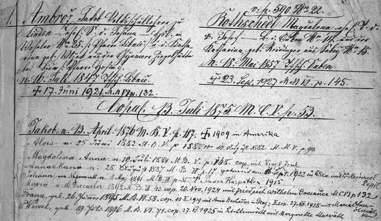 """Záznam strýčického """"rodového katastru"""" o jeho rodině i s datem jeho úmrtí v roce 1921 a soupisem jeho osmi dětí"""