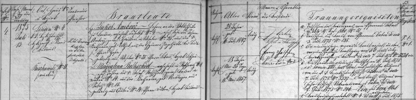 Záznam o jeho svatbě ve strýčické oddací matrice, z něhož vyplývá, že pár oddával kaplan Zeman z Dubného ajedním ze svědků byl učitel Třebín