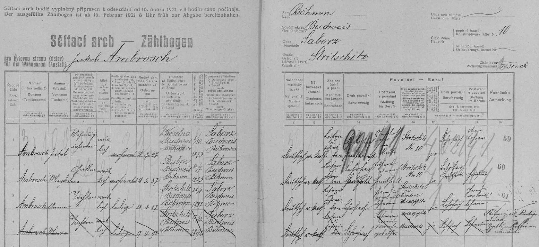 Rodina Ambrožova ve Strýčicích čp. 10 na archu sčítání lidu z roku 1921, několik měsíců před smrtí hlavy rodiny