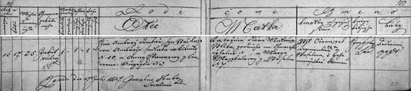 Český záznam o jeho narození v Úsilném v křestní matrice farní obce Libníč