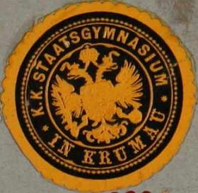 Nálepka c.k. německého státního gymnázia vČeském Krumlově
