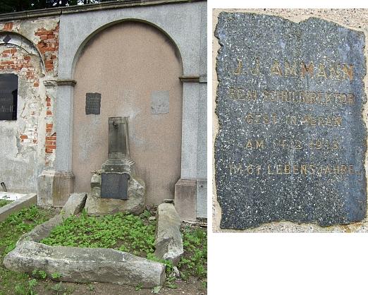 Hrob v Českém Krumlově a detail desky s jeho jménem