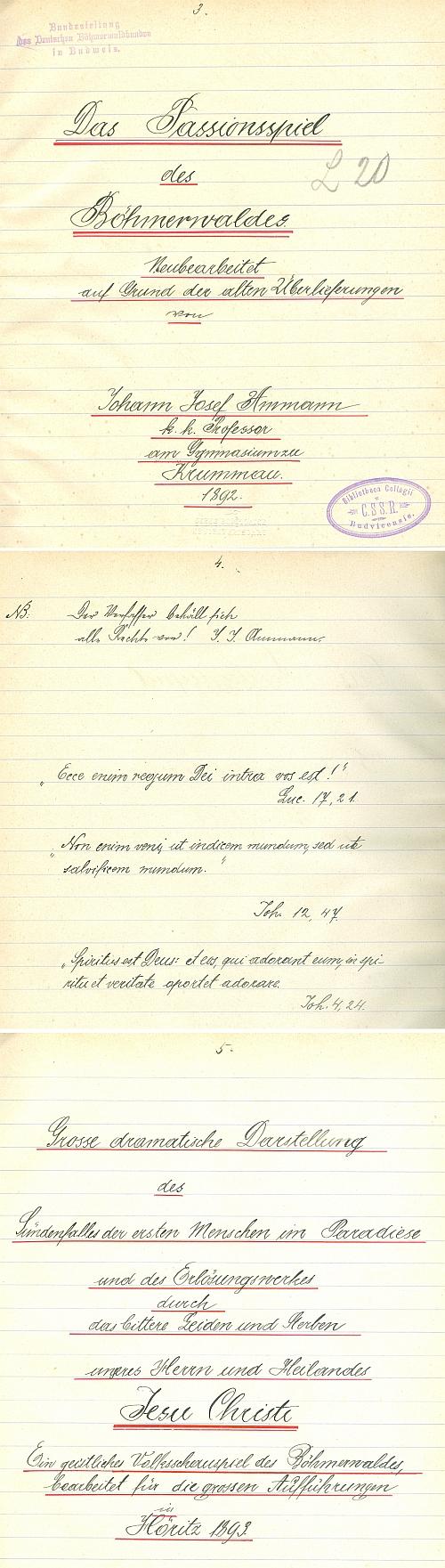 ... a ukázka tří stránek jejího rukopisu - na rubu titulu je důležité Nota bene: všechna práva vyhrazena! (Deutscher Böhmerwaldbund se s Ammannem soudil o autorská práva a tento exemplář ze sbírek Jihočeské vědecké knihovny prošel i knihovnou Böhmerwaldbundu)