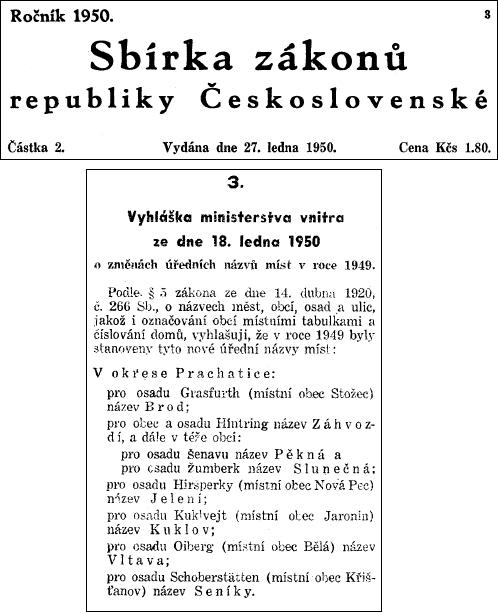Jediným škrtem pera komunistického ministra vnitra zmizelo jméno Šenava z mapy (Profousova Místní jména vČechách i ve vydání z roku 1957 uvádějí Šenavu i nadále a změnu neregistrují ani Svobodovy a Šmilauerovy Dodatky z roku 1960)