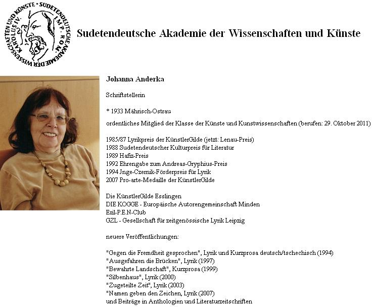 Záznam Johanny Anderkaové na soupisu členů Sudetoněmecké akademie věd a umění