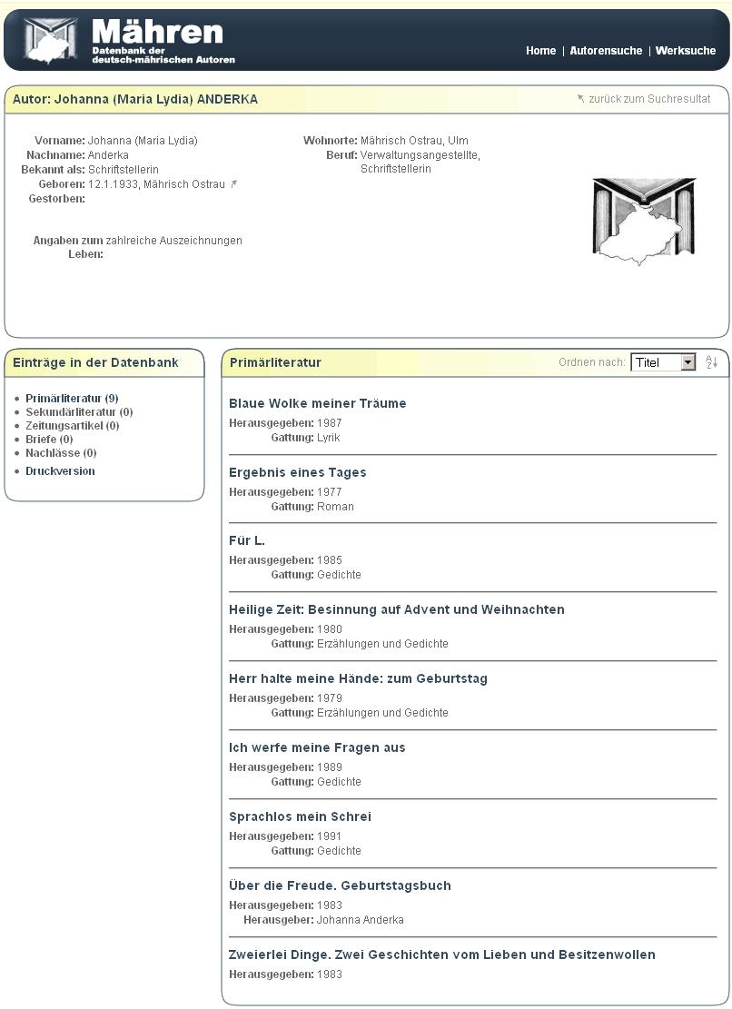 """Její stránky v databázi německých autorů z Moravy se seznamem devíti jejích knih, vydaných v už """"minulém století"""""""