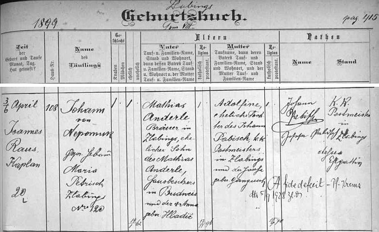 Podle záznamu v křestní matrice města Slavonic narodil se tu 3. dubna roku 1899 a byl tři dny nato pokřtěn Johann von Nepomuk Anderle - otec Mathias Anderle, sládek ve Slavonicích, byl synem Mathiase Anderleho staršího, majitele domu v Českých Budějovicích, a jeho ženy Anny, roz. Hladičové, matka Adolfina byla dcerou c.k. poštmistra ve Slavonicích Johanna Pabische a jeho ženy Josefy, roz. Ganguschové