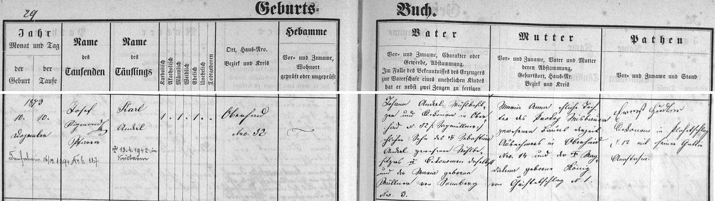 """Záznam zbytinské křestní matriky o narození otcově s pozdějším přípisem o jeho úmrtí, odkud se dovídáme, že děd z otcovy strany Johann Anderl, """"Sagmüller"""", tj. majitel mlýna a pily ve Zbytinách čp. 52, byl synem předchozího vlastníka téhož mlýna Sebastiana Anderla a jeho ženy Marie, roz. Müllnerové ze Slunečné (Sonnberg) čp. 3, babička z téže, tj. otcovy, strany Maria Anna byla pak dcerou Prokopa Misbauera ze Zbytin čp. 14 a Magdaleny, roz. Königové z Křišťanovic (Christelschlag) čp. 1"""