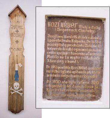 Nápis a umrlčí prkno na přední stěně kaple v Malém Kozím Hřbetě