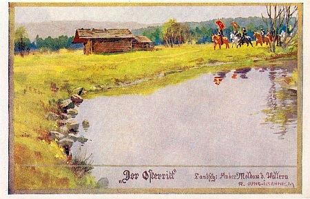 Velikonoční jízda při Vltavě u Volar na malované pohlednici Jung-Ilsenheimově