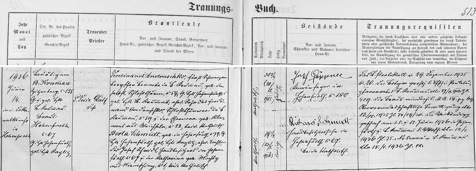 Záznam jeho vyšebrodské svatbě s Bertou Schmidtovou 14. ledna 1936