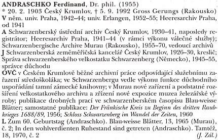 Autorem jeho hesla s nepříjemnou chybou v udání roku narození ve slovníku archivářů českých zemí byl Jiří Záloha