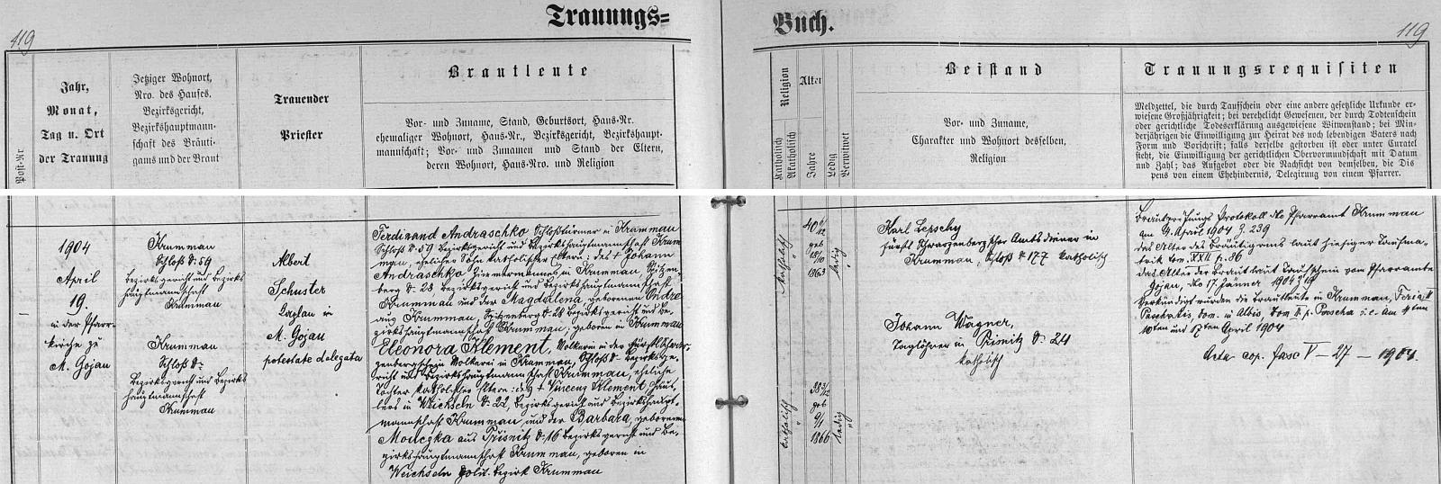 Záznam českokrumlovské oddací matriky o svatbě jeho rodičů na zdejším zámku, kde byl otec věžným a matka mlékařkou v knížecí mlékárně