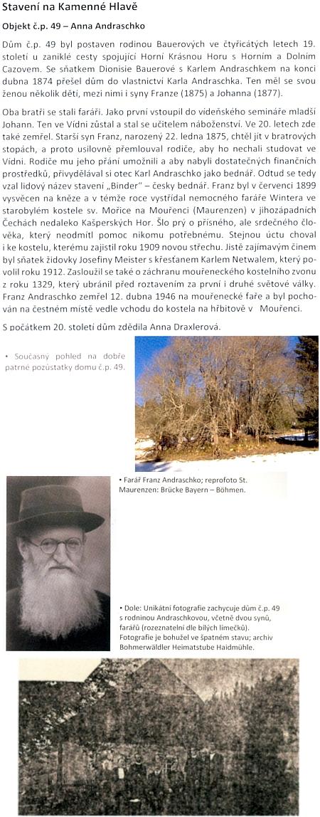 O faráři Franzi Andraschko a jeho rodném stavení na Kamenné Hlavě u Českých Žlebů (viz i Karl Suchy)