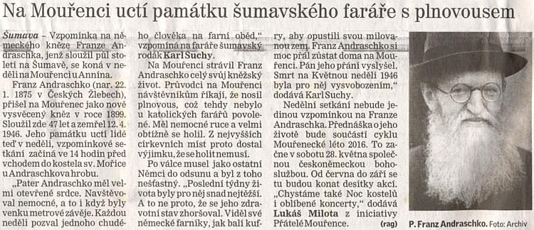 Připomínka 70. výročí smrti mouřeneckého faráře v českém tisku