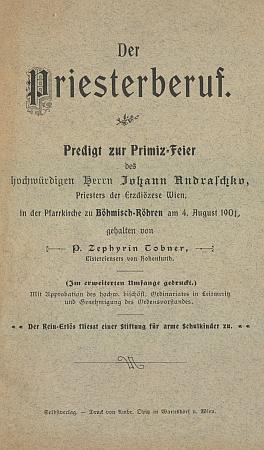 Brožura Zephyrina Tobnera k primici Franzova bratra