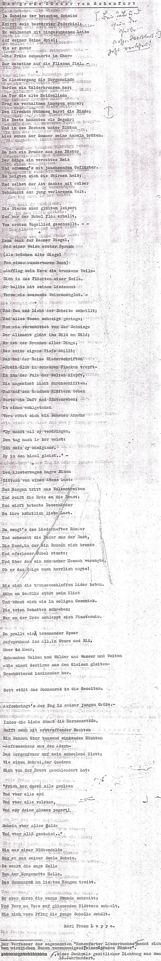 """Takto se v chatrné kopii dochovala báseň Karla Franze Leppy o """"velkém hříšníkovi z Vyššího Brodu"""", anonymním autorovi 15. či 16. století"""