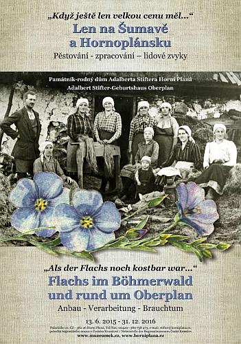 Plakát k výstavě Len na Šumavě a Hornoplánsku