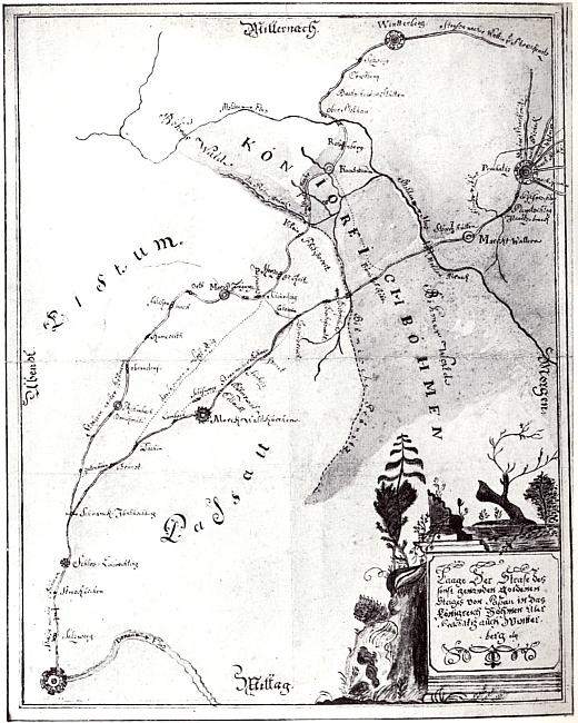 Mapa Zlaté stezky z doby kolem roku 1735 neopomíjí ani Volary