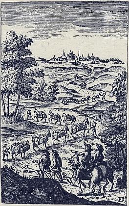 Skupina soumarů s ozbrojeným doprovodem na rytině z knihy Jacoba Savaryho z roku 1676 Der vollkommene Kauff- und Handels-Mann (Ženeva 1676)