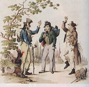 """Kolorovaná mědirytina se scénou z Nestroyovy hry """"Lumpazivagabundus"""" byla v roce 1834 přílohou listu Wiener Theaterzeitung"""