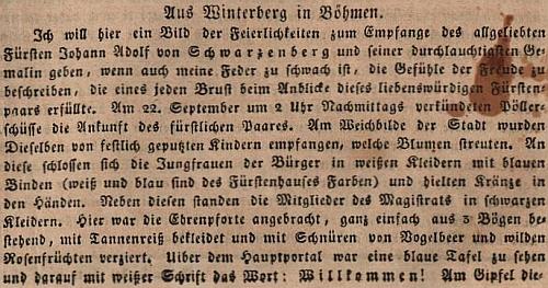 Úvod originálu článku ve Wiener Theater-Zeitung