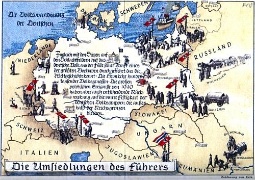 Transfery obyvatel se přitom vychloubal (jako na této pohlednici) už nacizmus, k největším však došlo až po jím prohrané válce ze strany vítězů