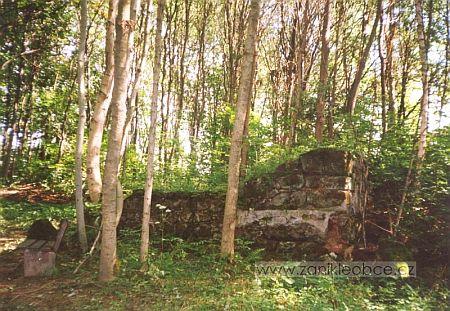 Ruina domu a záběr ze hřbitova