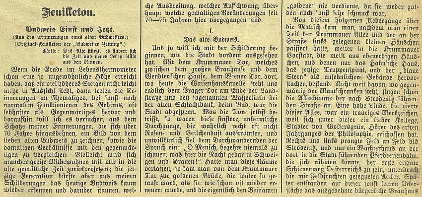 První tři sloupky anonymního textu v českobudějovickém německém listu