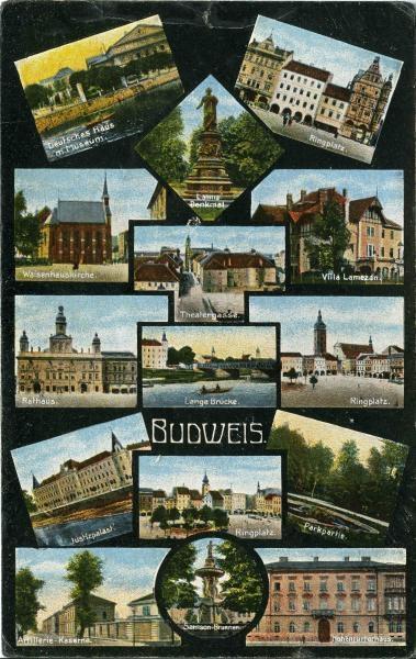 Budějovické motivy na pohlednici z přelomu 19. a 20. století