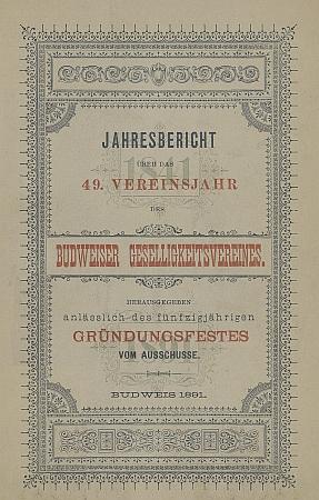 """Obálka výroční zprávy sdružení """"Geselligkeitsverein"""" z roku 1891, kdy byl autor podle vlastních slov ještě členem"""