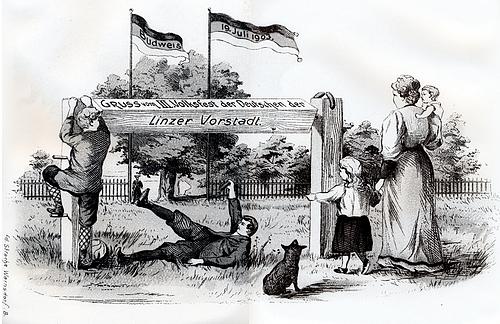 Pohlednice slavnosti Němců z Lineckého předměstí v roce 1903