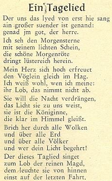 """Vyšebrodské """"svítáníčko"""" v novoněmeckém převodu Hanse Watzlika, ponechávající v úvodu staroněmecké verše o """"velkém hříšníkovi"""""""