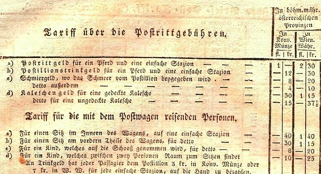 """""""Schmiergeld"""" pro postiliony v ceníku rakouské pošty pro """"českomoravské rakouské provincie"""""""