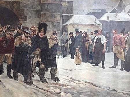 """Podle """"písně o útěku"""" (""""Mit Mann und Ross und Wagen""""), dost nemístně citované v textu ohledně marše wehrmachtu Vimperkem, pojmenoval malíř Arthur Kampf (1864-1950) svůj obraz z roku 1896, zpodobující sice osud Napoleonovy """"Velké armády"""", ale předznamenávající i konec """"velkého Německa"""" (viz i Rupert Steinbrener nejml.)"""