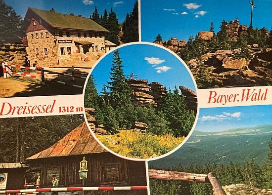 Německé pohlednice z osmdesátých let 20. století zachytily kromě šumavských vrcholů i českou pohraniční stráž