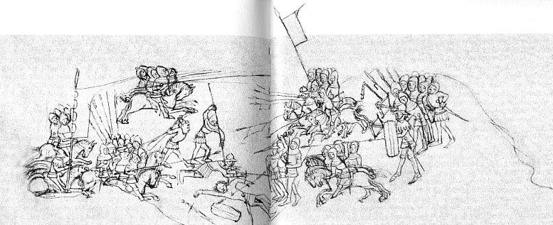 Kresba husitských bojovníků, ozbrojených sudlicemi, cepy, kušemi, meči a pavézami v rukopisu Starého zákona z let 1430-1440, který uchovává Národní knihovna v Praze pod sig. XVII.A.34, fol. 115 rb