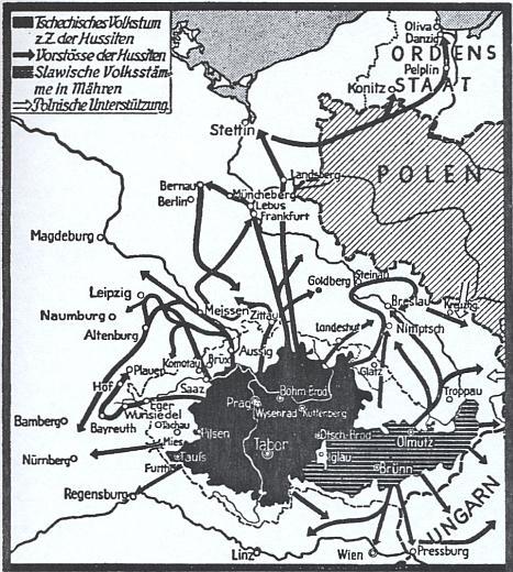 Mapka, kterou vytvořil Arnold Hillen Ziegfeld (1952), zachycuje údajné husitské výboje do zahraničí