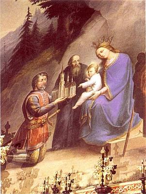 """Obraz budějovického malíře Bartoloměje Tschurna (1824-1902), rodáka ze Záboří (Saborsch), roku 1879 umístěný na severní zdi presbyteria vyšebrodského klášterního kostela Nanebevzetí Panny Marie (Tschurn rok nato dodal i obraz Ukřižovaného pro jeho hlavní oltář, měnící své čtyři obrazy podle liturgických období), znázorňuje """"Věnování kostela vyšebrodského Vokem z Rožmberka"""", mezi donátorem a Madonou s Ježíškem stojí tu s motykou """"otec západního mnišství"""" sv. Benedikt v rouchu ještě nerozlišeném, neboť byl prvním mnichem křesťanského Západu vůbec."""