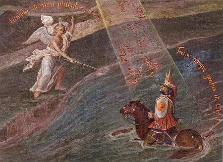 Dvě zpodobení zakladatele kláštera Voka zRožmberka, na detailu obrazu vlevo jako jezdce přes řeku Vltavu (viz i Karoline Pichlerová)