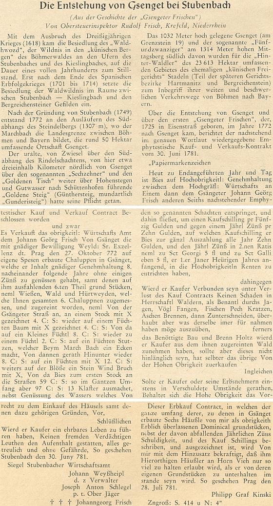 O vzniku vsi Gsenget tu píše na stránkách krajanského měsíčníku v roce 1955 jeden z rodu Frischů