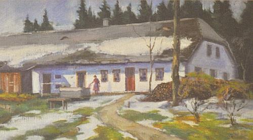 Frischhof malovaný podle staré fotografie