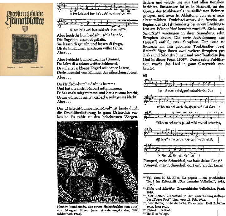 Stránka revue Oberösterreichische Heimatblätter s notovým záznamem, ilustrací Margret Bilgerové a stvrzením šumavského původu písně