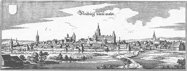 Neunburg vorm Wald v 17. století na vedutě Matthäuse Meriana
