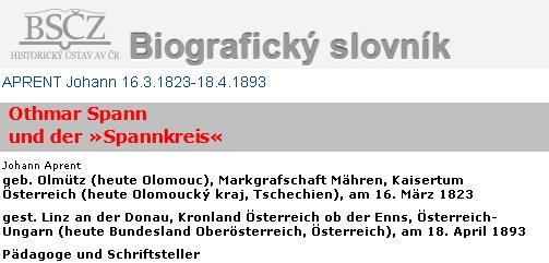 """Biografický slovník českých zemí a rakouský projekt Othmar Spann und der """"Spannkreis"""" uvádí jako měsíc jeho narození březen..."""
