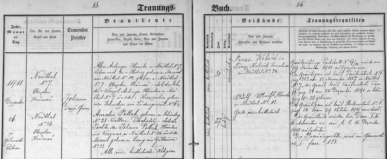 Jeho druhá svatba s Amalií Pollakovou, jak ji zaznamenala oddací matrika farní obce České Žleby