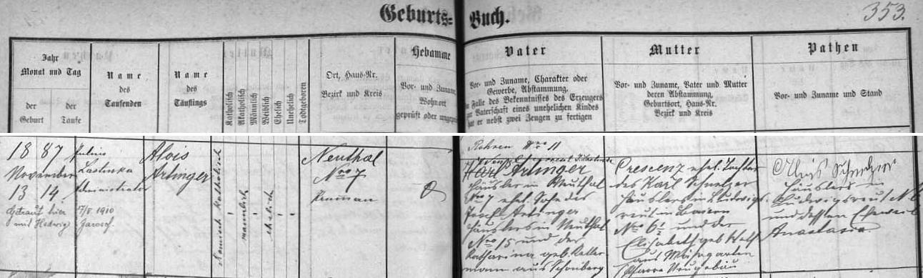 Záznam křestní matriky farní obce České Žleby o jeho narození s pozdějším přípisem o jeho první svatbě s Hedwig Jaroschovou v květnu roku 1910