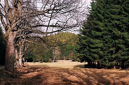 """Horská chata """"Na Kubrnech"""" (také """"Kuberna"""") a pohled od ní na horu Malý Bobík, jež je odtud nejlépe přístupná"""